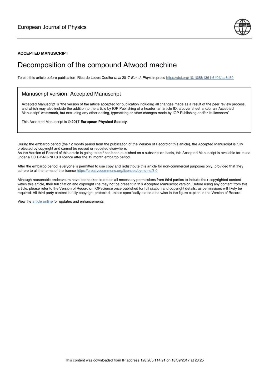 Decomposition of the compound Atwood machine, Capa