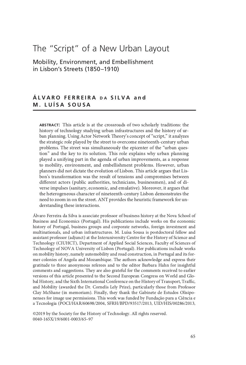 "The ""script"" of a new urban layout: mobility, environment and embellishment in Lisbon's streets (1850-1910), Capa"