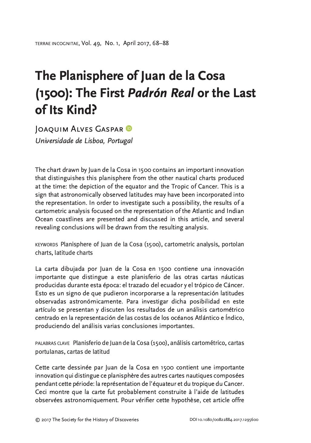 The Planisphere of Juan de la Cosa (1500): The First Padrón Real or the Last of Its Kind?, Capa