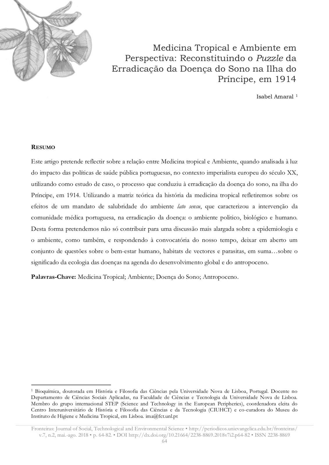 Medicina Tropical e Ambiente em Perspectiva: Reconstituindo o Puzzle da Erradicação da Doença do Sono na Ilha do Príncipe, em 1914, Capa