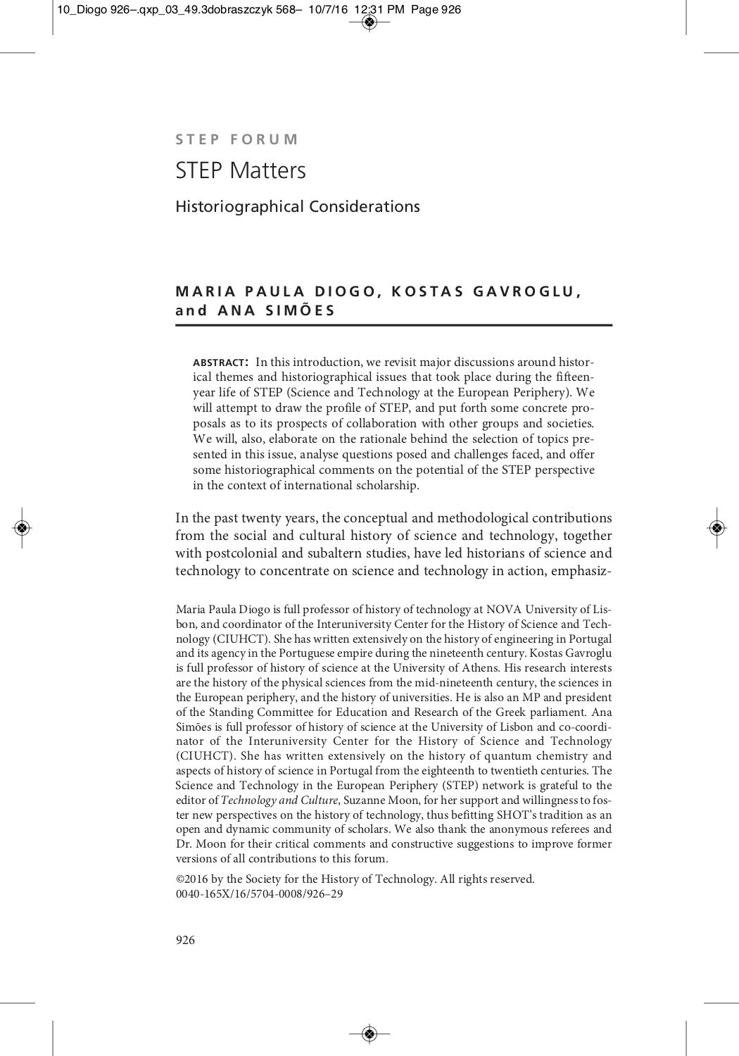 STEP Matters. Historiographical Considerations, Capa