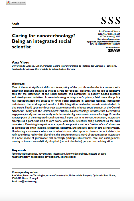 Caring for Nanotechnology? Being an integrated social scientist, Capa