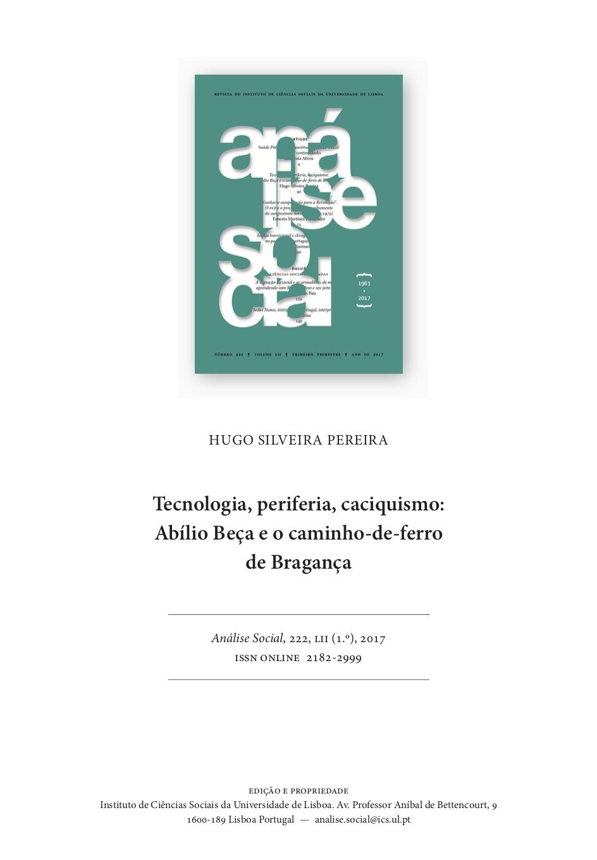 Tecnologia, periferia, caciquismo: Abílio Beça e o caminho-de-ferro de Bragança, Capa