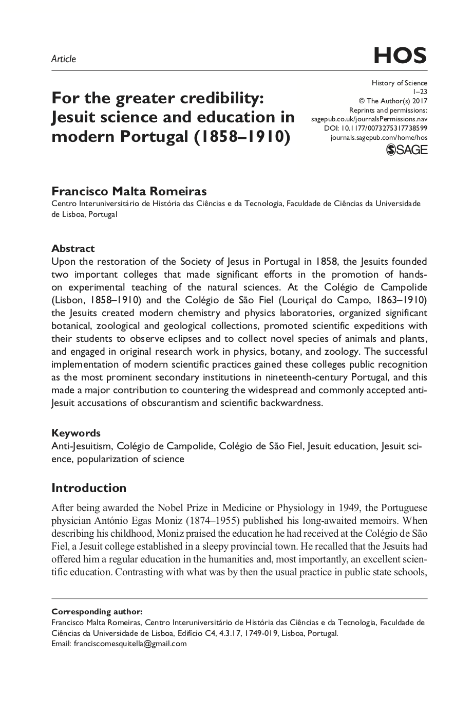 For the Greater Credibility: Jesuit Science and Education in Modern Portugal (1858-2002), Capa