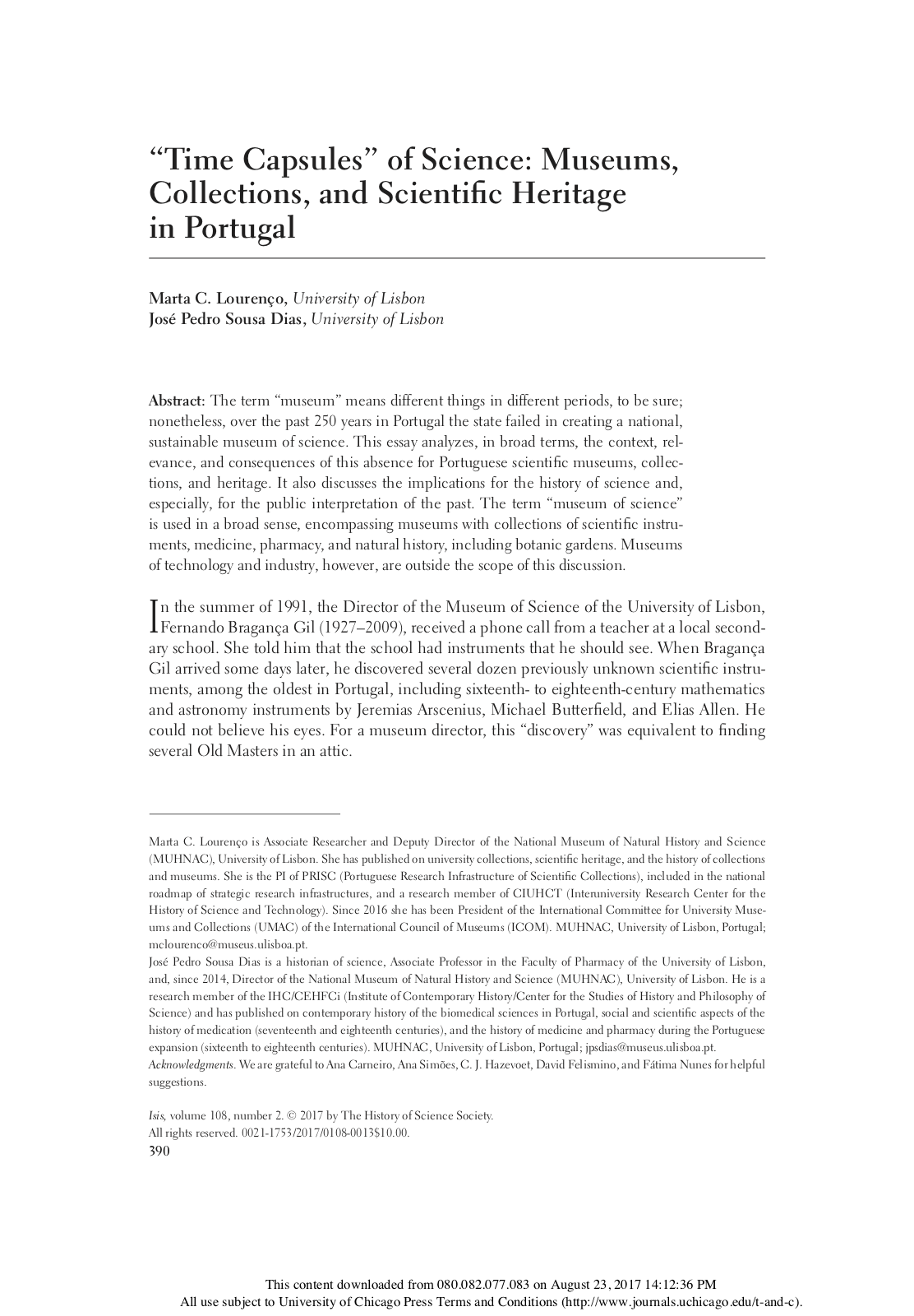 The 'time capsules' of science: Museums, collections and scientific heritage in Portugal, Capa