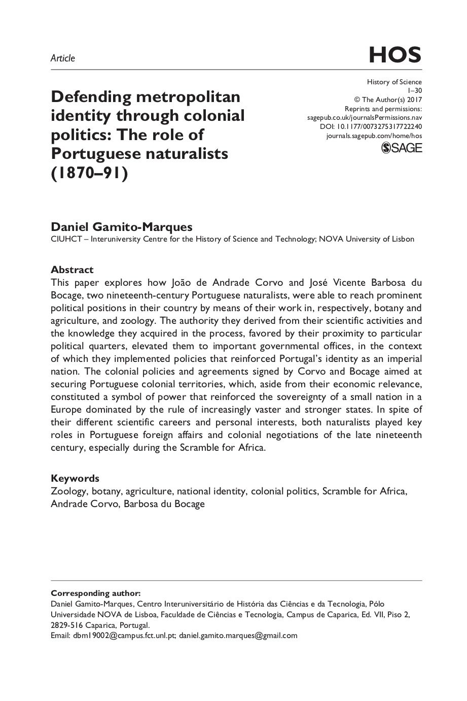 Defending metropolitan identity through colonial politics: The role of Portuguese naturalists (1870–91), Capa