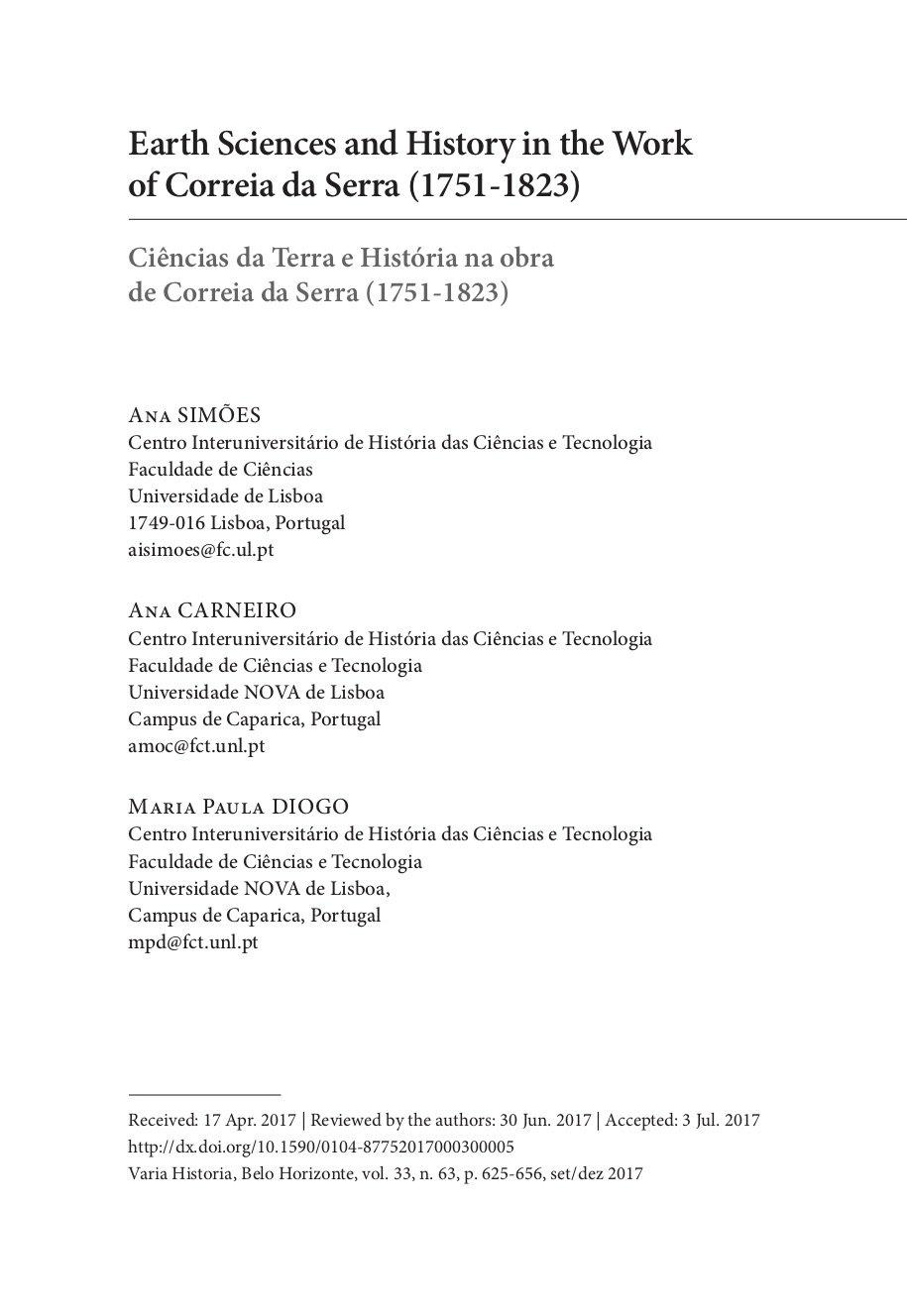 Earth Sciences and History in the Work of Correia da Serra (1751-1823), Capa