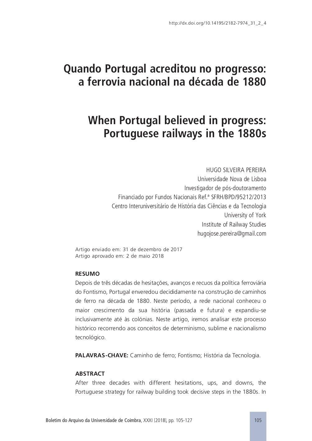 Quando Portugal acreditou no progresso: a ferrovia nacional na década de 1880, Capa