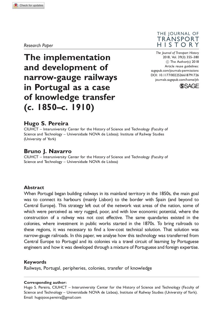 The implementation and development of narrow-gauge railways in Portugal as a case of knowledge transfer (c. 1850–c. 1910), Capa