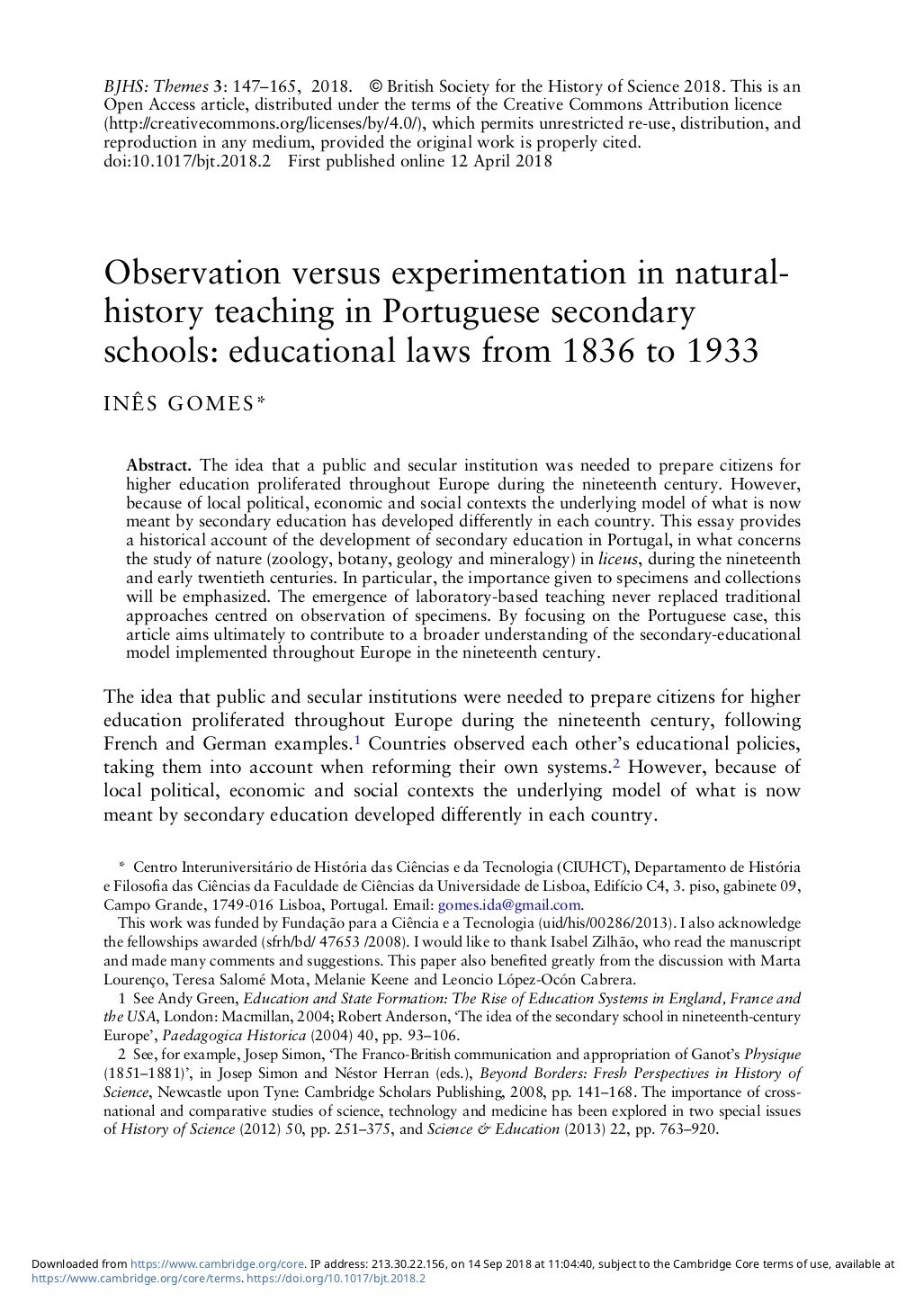Observation versus experimentation in natural-history teaching in Portuguese secondary schools: educational laws from 1836 to 1933, Capa