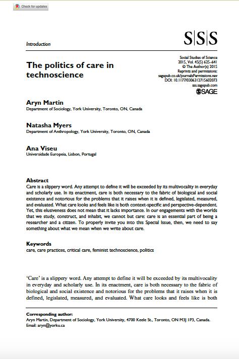 The politics of care in technoscience, Capa