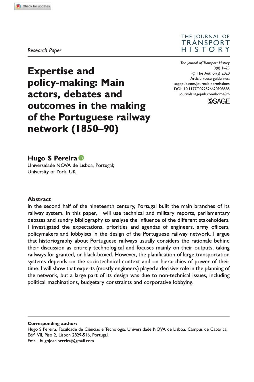 Expertise and policy-making: Main actors, debates and outcomes in the making of the Portuguese railway network (1850–90), Capa
