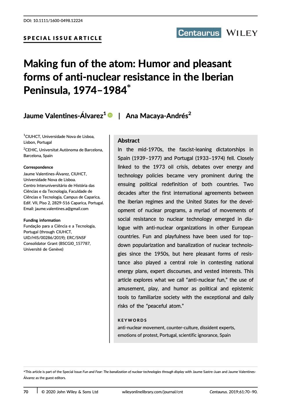 Making fun of the atom: Humor and pleasant forms of anti‐nuclear resistance in the Iberian Peninsula, 1974–1984, Capa