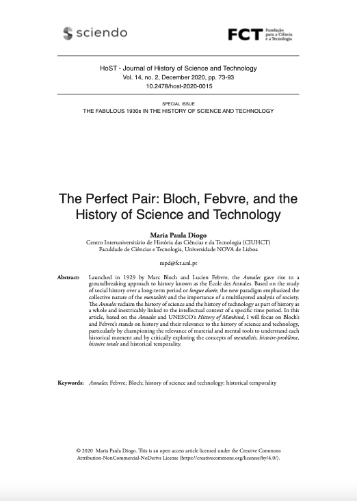 The Perfect Pair: Bloch, Febvre, and the History of Science and Technology, Capa