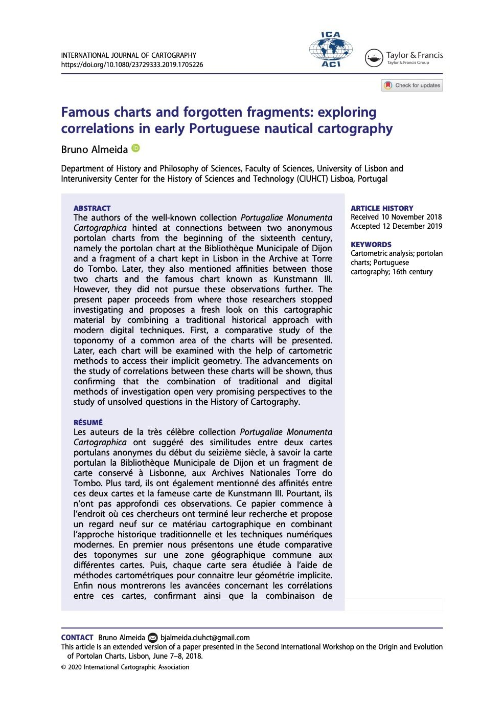 Famous charts and forgotten fragments: exploring correlations in early Portuguese nautical cartography, Capa