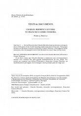 Les lettres de Charles Hermite à Francisco Gomes Teixeira, Capa