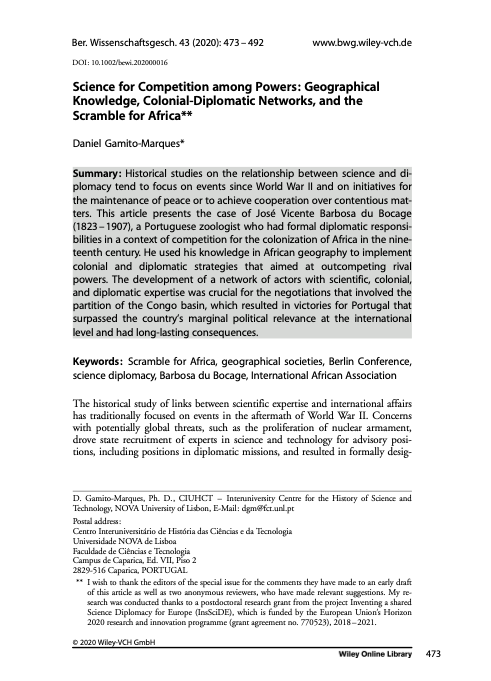 Science for Competition among Powers: Geographical Knowledge, Colonial‐Diplomatic Networks, and the Scramble for Africa, Capa