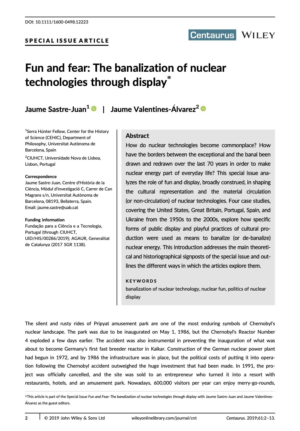 Fun and fear: The banalization of nuclear technologies through display, Capa