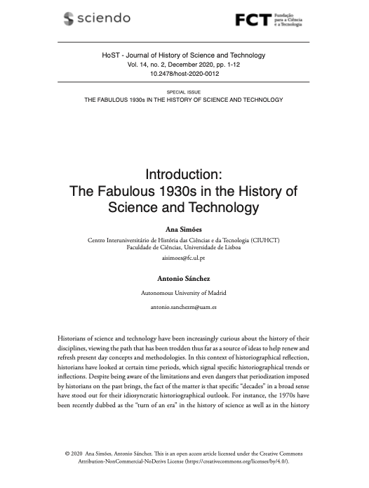 Introduction: The Fabulous 1930s in the History of Science and Technology, Capa