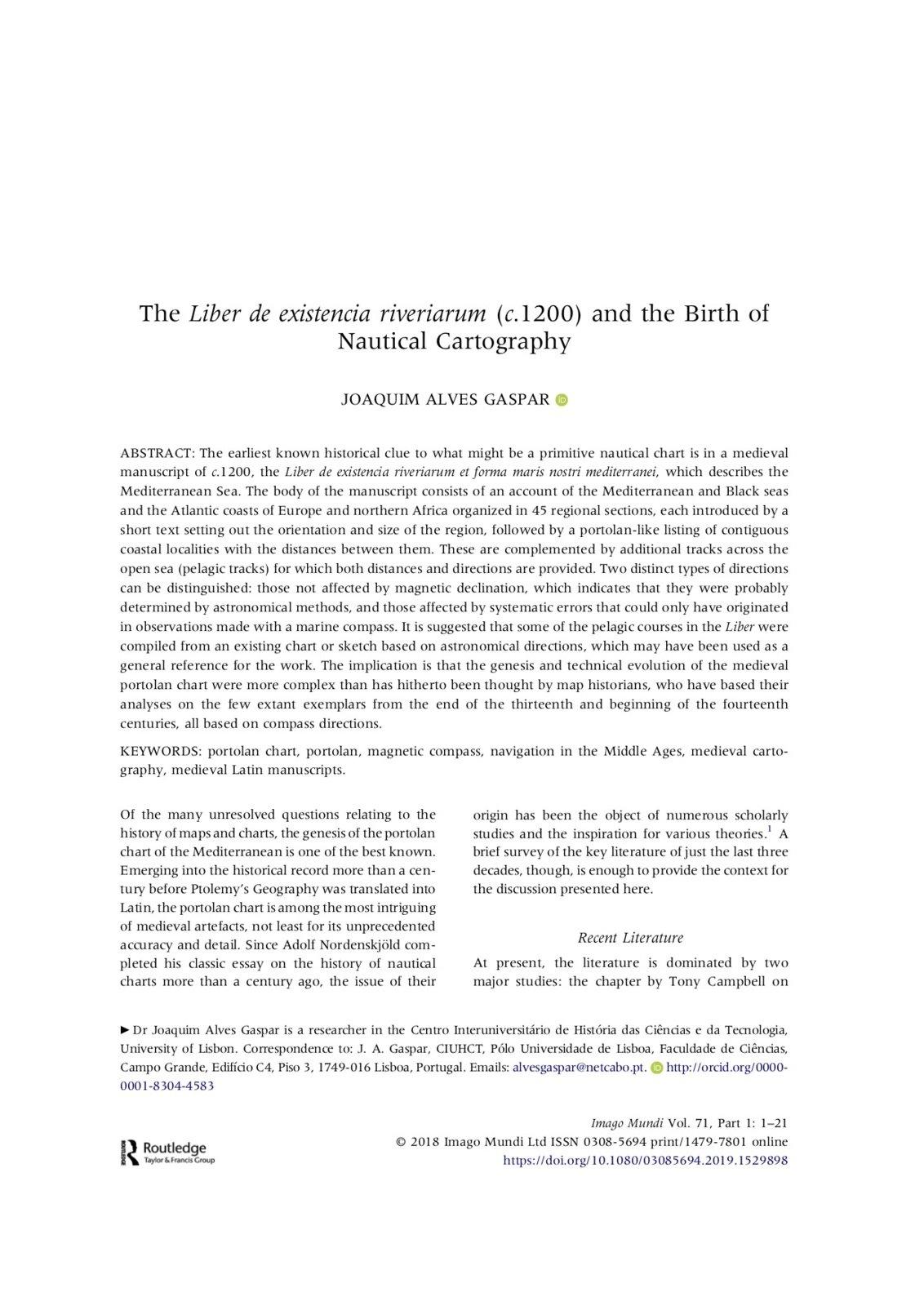 The Liber de existencia riveriarum (c.1200) and the Birth of Nautical Cartography, Capa