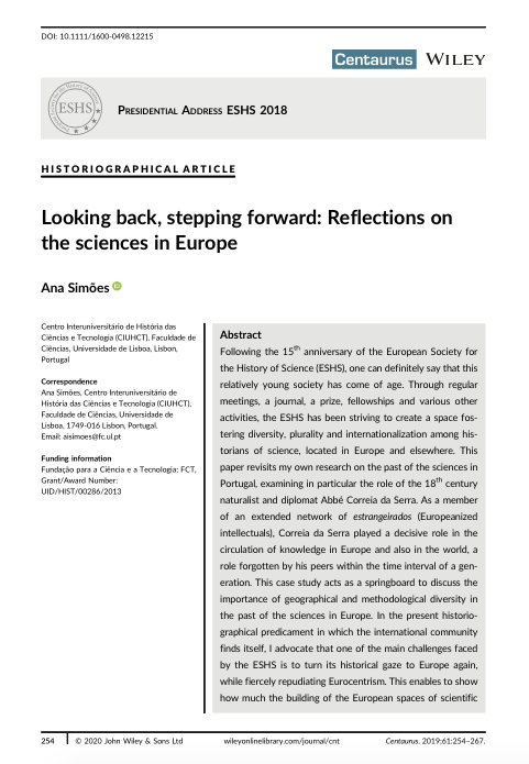 Looking back, stepping forward: Reflections on the sciences in Europe, Capa