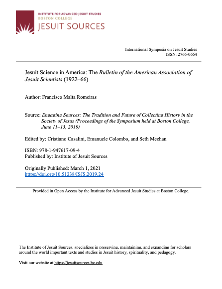 Jesuit Science in America (1922–1966): The Bulletin of the American Association of Jesuit Scientists, Capa